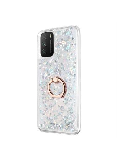 Microsonic Xiaomi Poco M3 Kılıf Glitter Liquid Holder Gümüş Gümüş